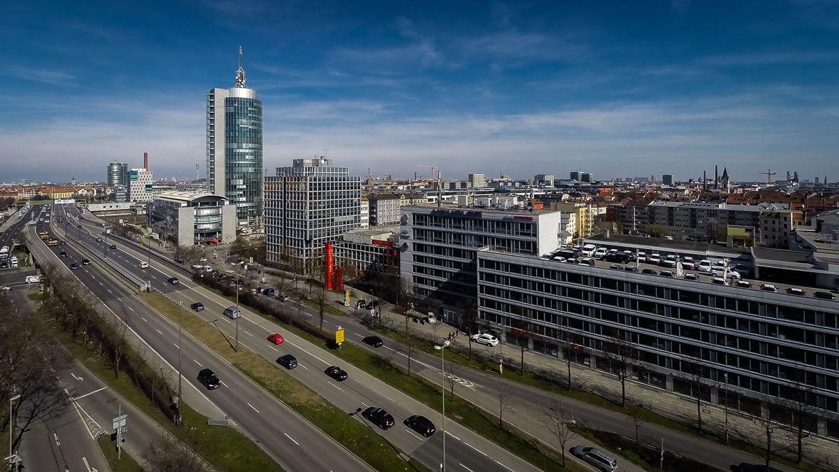 Luftbild München Westend mit Blick zur Donnersberger Brücke