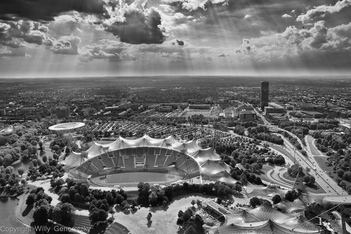 Luftbild München, das Olympiastation